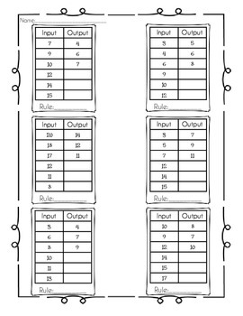 Input/Output Number Pair Practice Pages