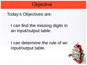 Input/Output Tables (Function Machines)