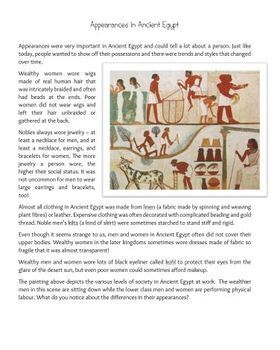 Social Class in Ancient Egypt: Inquiry-Based, Reading Comprehension