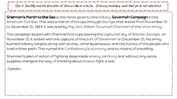 Inquiry Based Learning Lessons for Social Studies:  Sherman's March to the Sea