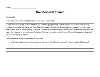 Inquiry Based Middle Ages Medieval Catholic Church