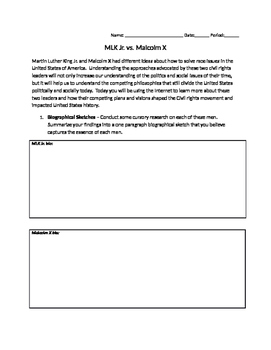 Inquiry Based Webquest - MLK Jr. and Malcolm X (Common Core)