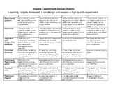 Inquiry Experimental Design Rubric