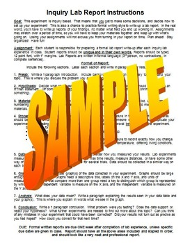 Inquiry Lab Report Writing Instructions and Rubric