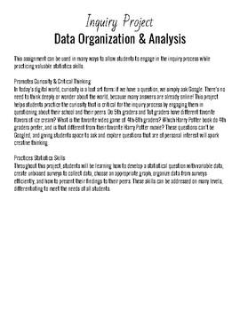 Inquiry Project: Data Organization & Analysis