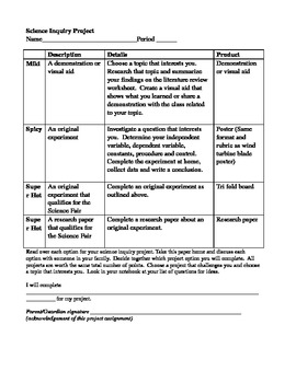 Inquiry Design Project for Science (Differentiated)