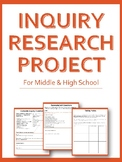 Inquiry Research Project Workbook - Project Based Learning Printable