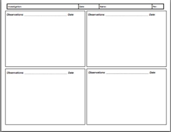 Inquiry Science Observation Sheet