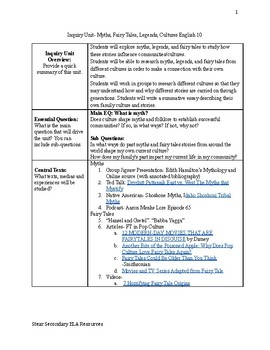 Inquiry Unit English 10 Myths, Fairy Tales, and Legends