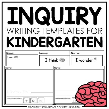inquiry writing templates for kindergarten by a pinch of kinder