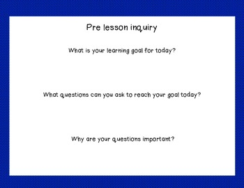 Inquiry based pre and post student form