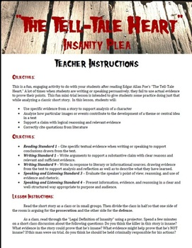 simulations resources lesson plans teachers pay teachers  insanity plea the tell tale heart by edgar