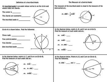 Inscribed Angle Foldable