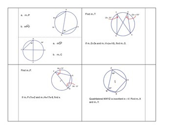 Inscribed Angles & Intercepted Arcs Foldable