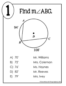 Inscribed Angles Math Lib Activity by All Things Algebra | TpT