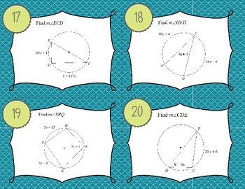 Inscribed Angles Task Cards