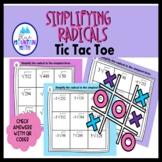 Simplifying Radicals  -- Tic Tac Toe Activity