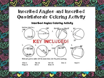 Inscribed Angles and Inscribed Quadrilateral Color By Numbers