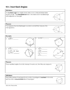homework 4 inscribed angles gina wilson