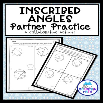 Inscribed Angles in Circles Partner Practice