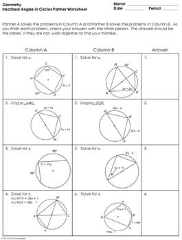 Inscribed Angles in Circles Partner Worksheet by Mrs E ...