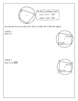 Inscribed Quadrilaterals Packet