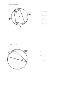 Inscribed/Central Angles & Arcs in a circle