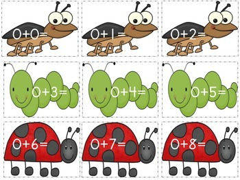 Insect Addition (Math Facts 0-10)
