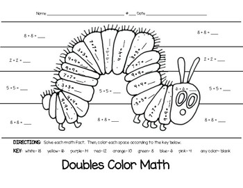 Insect Basic Addition Facts Color Math