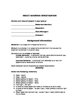 Insect Behavior Investigation/Lab Report