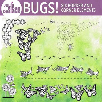 Insect Border and Corner Clip Art Elements