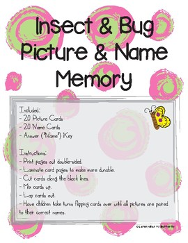 Insect Bug Picture and Name Memory