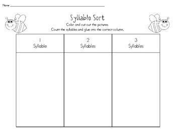 Insect Bug Themed Syllable Sort