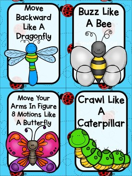 Insect, Bugs, and Creepy Crawlers Themed Movement Cards