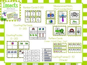 Literacy and Math Insect Bundle - Center Activities (Common Core Aligned - K)