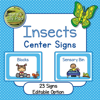 Insect Centers Signs for Preschool, PreK or Kindergarten