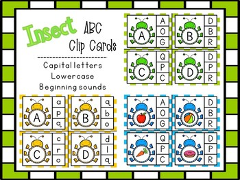 Insect Clip Cards ABC Capital / Lower Case & Beginning Sounds