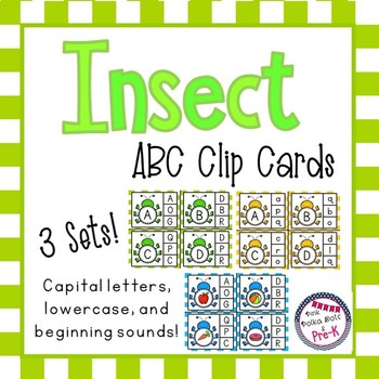 Insect ABC Clip Cards - 3 Sets: Capital, Lower Case & Beginning Sounds
