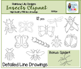 Insect Clipart-Detailed Line Drawings