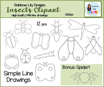 Insect Clipart-Simple Line Drawings