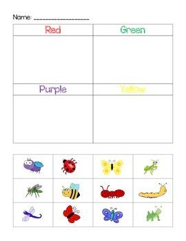 Insect Color Sort File Folder Game