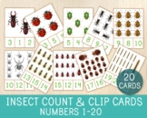 Insect Count & Clip Cards, Numbers 1-20, Math Game, Flashcards, Learn to Count