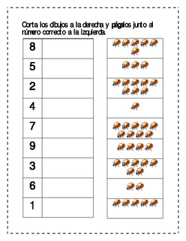 Insect theme Counting worksheets in Spanish