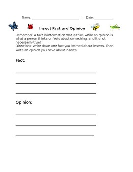 Insect Fact and Opinion