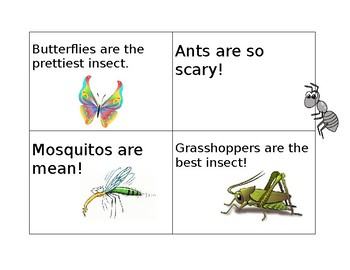 Insect Fact and Opinion Cards