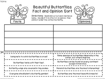 Insect Fact and Opinion (Cut and Paste Sorts)