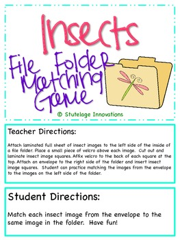 Insect File Folder Matching Game