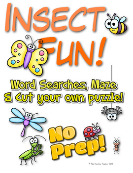 Insect Fun! Word Searches, Maze & Puzzle