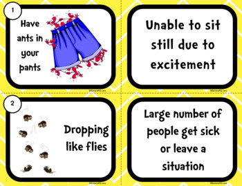 IDIOM TASK CARDS Insect Idioms Idioms Activity Idioms Literacy Center Games
