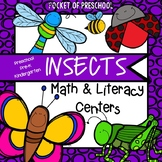 Insect Math and Literacy Centers for Preschool, Pre-K, and